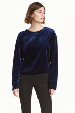 Crushed velvet top - Dark blue - Ladies | H&M CN 1