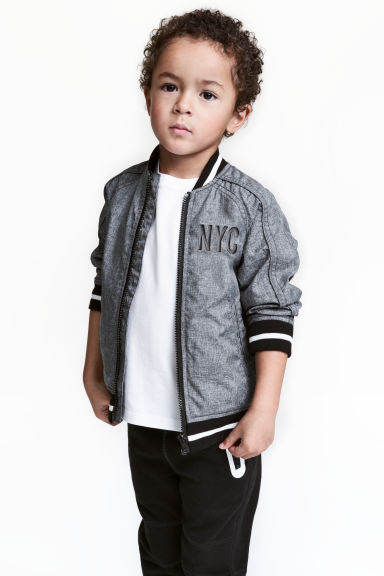 Bomber jacket - Dark grey/New York - Kids | H&M CN 1