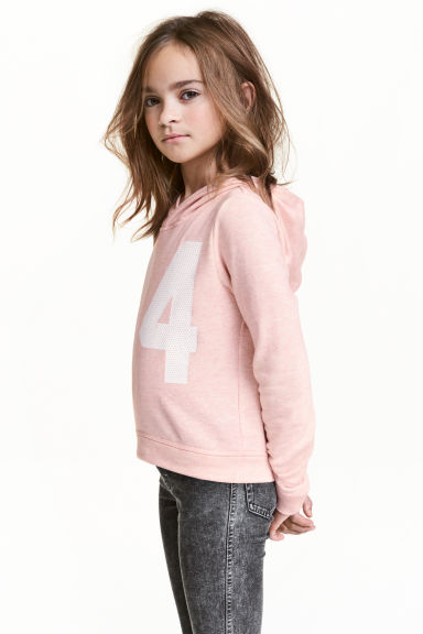 Printed hooded top - Powder pink - Kids | H&M 1