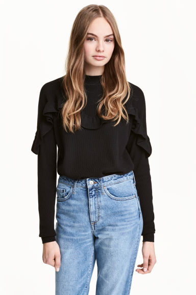 Knitted frilled jumper - Black -  | H&M CN 1