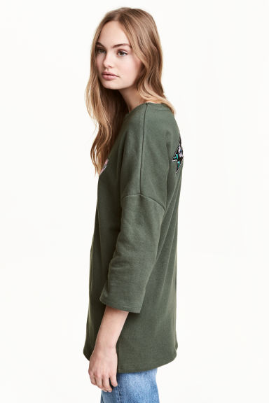 Oversized sweatshirt - Khaki green - Ladies | H&M CN 1
