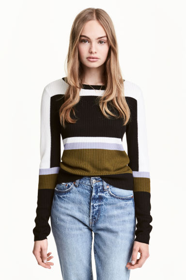 Rib-knit jumper - Black/Green - Ladies | H&M 1