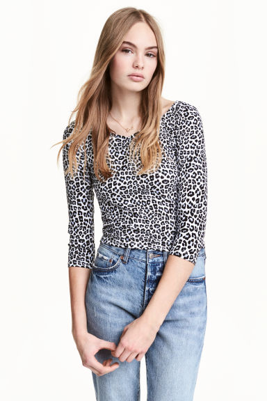 Jersey top - White/Leopard print - Ladies | H&M CN 1