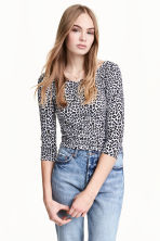 Top in jersey - Bianco/leopardato - DONNA | H&M IT 1