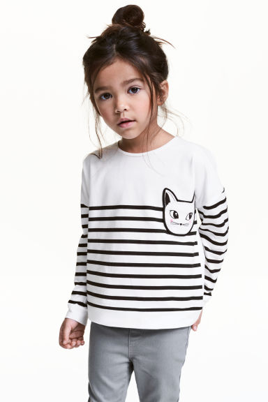 Long-sleeved top - White/Striped - Kids | H&M 1