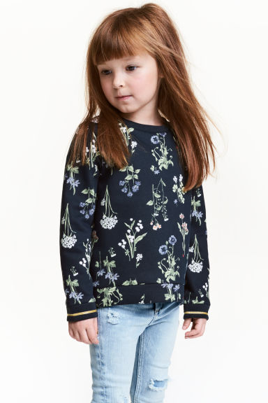 Sweatshirt - Dark blue/Floral - Kids | H&M 1