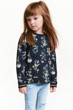 Sweatshirt - Dark blue/Floral - Kids | H&M GB 1