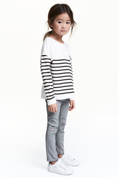 Embroidered treggings - Grey - Kids | H&M 1