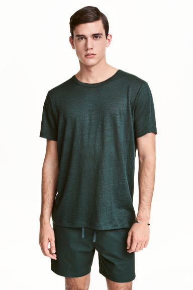 T-shirt in lino - Verde scuro - UOMO | H&M IT 1