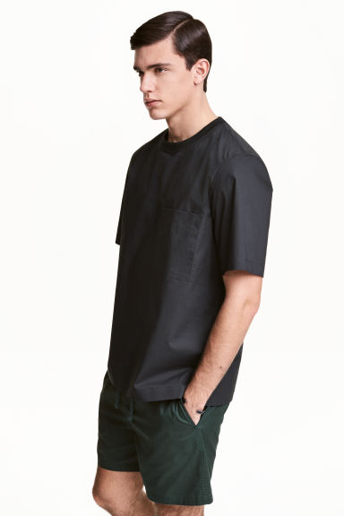 Cotton weave T-shirt - Black - Men | H&M 1