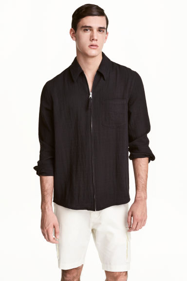 Zipped shirt jacket - Black - Men | H&M 1