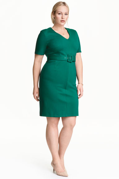 H&M+ V-neck dress - Dark green - Ladies | H&M 1