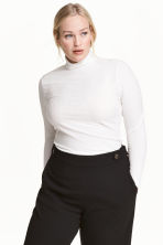 H&M+ Ribbed polo-neck jumper - Natural white - Ladies | H&M CN 1