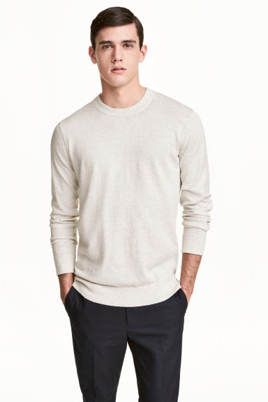 Cashmere-blend jumper - Light grey marl - Men | H&M CN 1