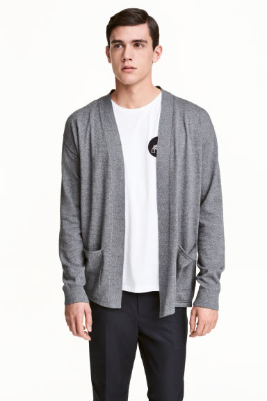 Cotton cardigan - Dark grey marl - Men | H&M 1