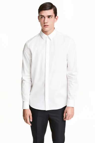Cotton shirt Slim fit - White - Men | H&M CN