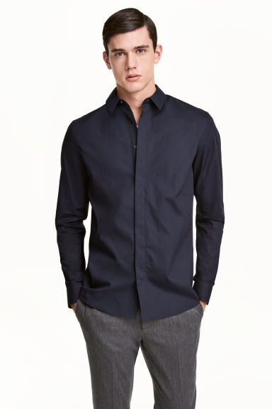 Cotton shirt Slim fit - Dark blue - Men | H&M 1