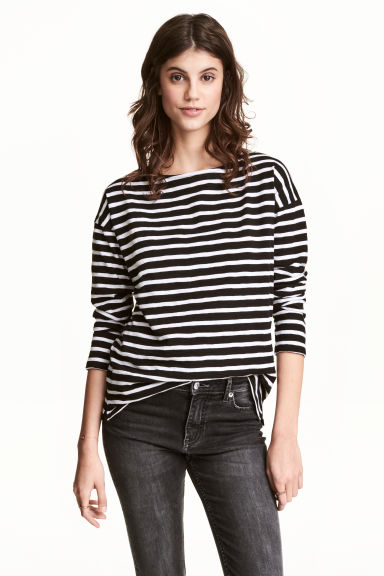 Long-sleeved top - Black/Striped - Ladies | H&M 1
