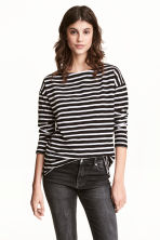 長袖上衣 - Black/Striped - Ladies | H&M 1