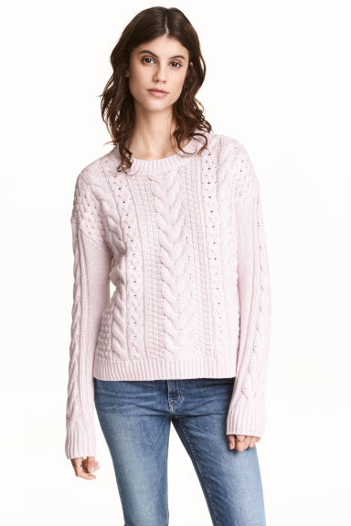 Cable-knit jumper - Light pink - Ladies | H&M