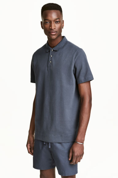 Polo in piqué - Blu-grigio -  | H&M IT 1