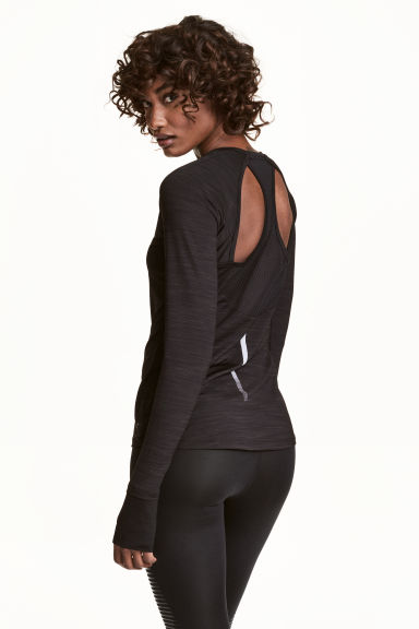 Racer-back running top - Black marl - Ladies | H&M CN