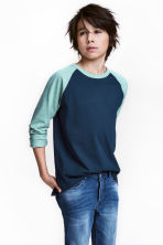 Long-sleeved T-shirt - Dark blue -  | H&M 1