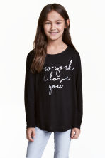 Long-sleeved top - Black -  | H&M 1