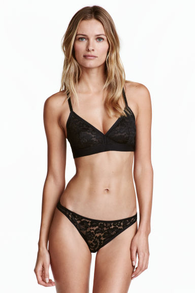 Slip Brazilian in tulle - Nero - DONNA | H&M IT 1