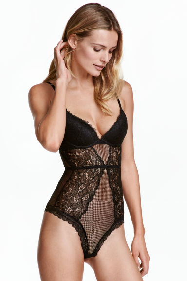 Lace string body - Black - Ladies | H&M CN 1