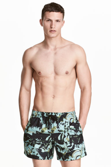 Short swim shorts - Turquoise/Patterned - Men | H&M CN 1