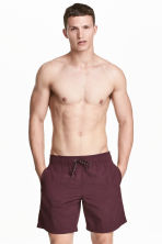 Knee-length swim shorts - Burgundy - Men | H&M 1