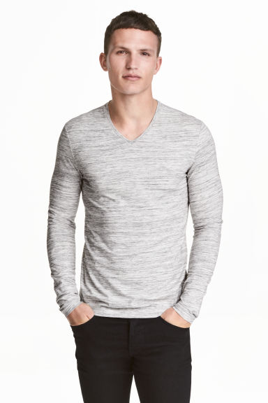 Long-sleeved T-shirt Slim fit - Grey marl - Men | H&M CN 1