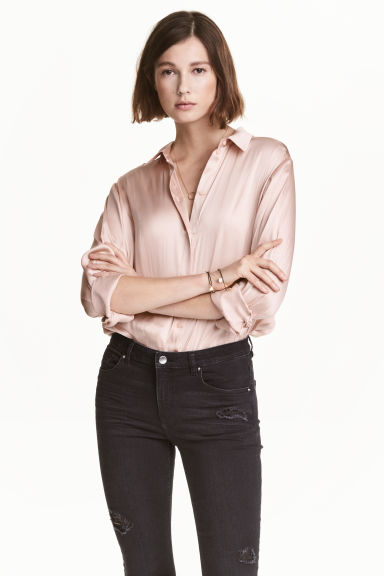 Satin blouse - Powder - Ladies | H&M CN 1