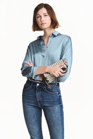 Satin blouse - Pigeon blue -  | H&M