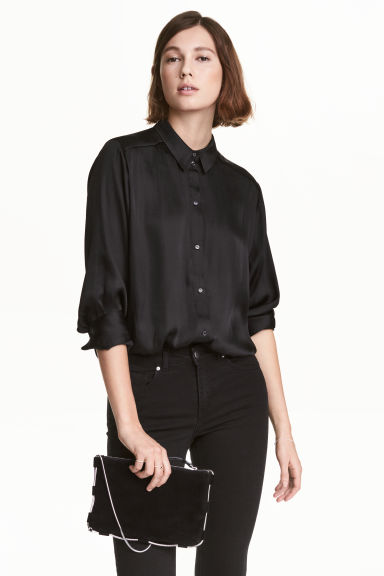 Satin blouse - Black - Ladies | H&M 1