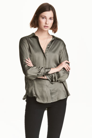 Satin blouse - Khaki green - Ladies | H&M 1