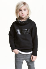 Funnel-collar sweatshirt - Black - Kids | H&M 1