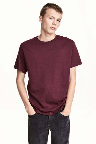 Round-necked T-shirt - Burgundy - Men | H&M