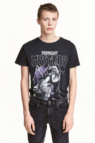 T-shirt with a motif - Black/Print - Men | H&M 1