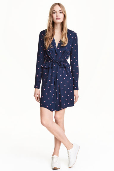 Shirt dress - Dark blue/Patterned - Ladies | H&M 1