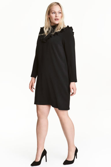 H&M+ Dress with frills - Black - Ladies | H&M 1