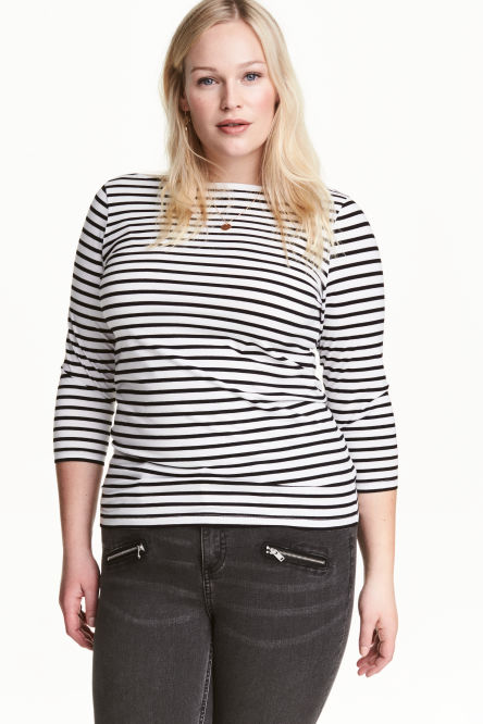 H&M+ Boat-necked jersey top