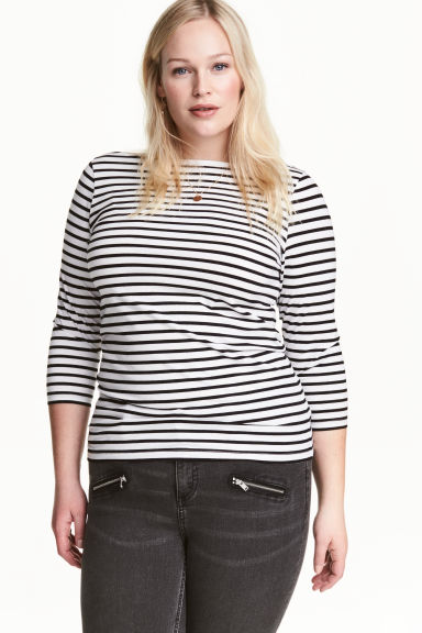 H&M+ Top in jersey - Bianco/nero righe - DONNA | H&M IT 1