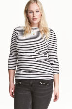 H&M+ Boat-necked jersey top - White/Black striped - Ladies | H&M 1