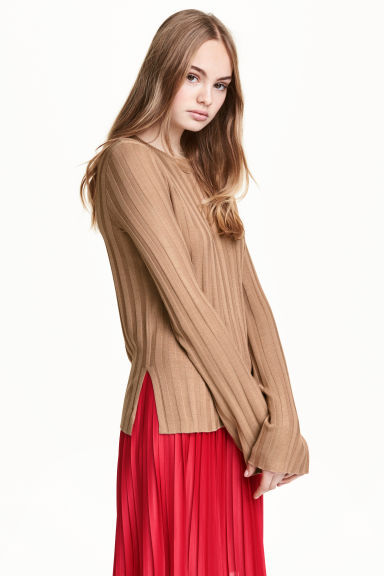 Rib-knit jumper - Beige - Ladies | H&M