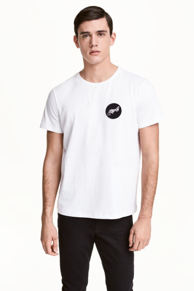 T-shirt avec application - Blanc/ Non-Violence -  | H&M FR 1