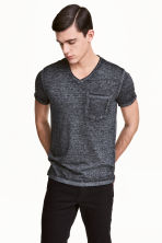 T-shirt with raw edges - Anthracite/Grey marl - Men | H&M CN 1