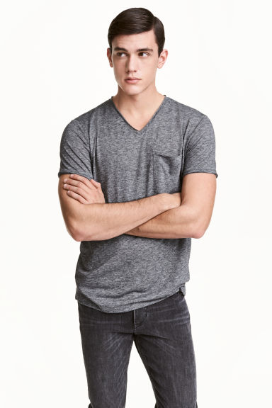 T-shirt with raw edges - Dark grey marl - Men | H&M 1