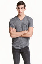 T-shirt with raw edges - Dark grey marl - Men | H&M CN 1